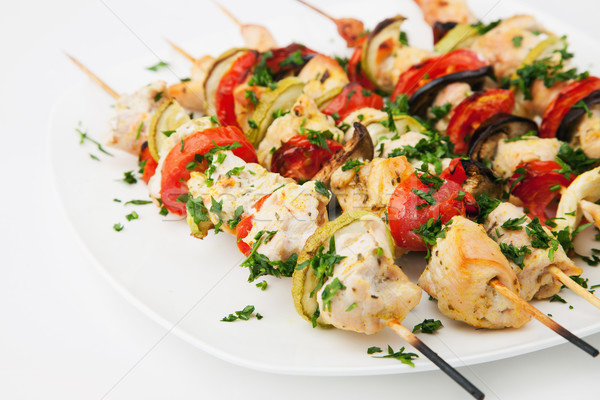 Grilled chicken skewers Stock photo © gladcov