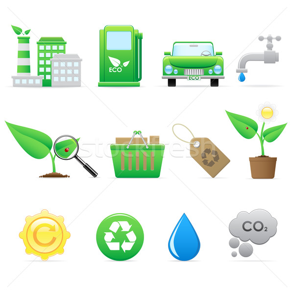 Ecology icon set Stock photo © gladcov