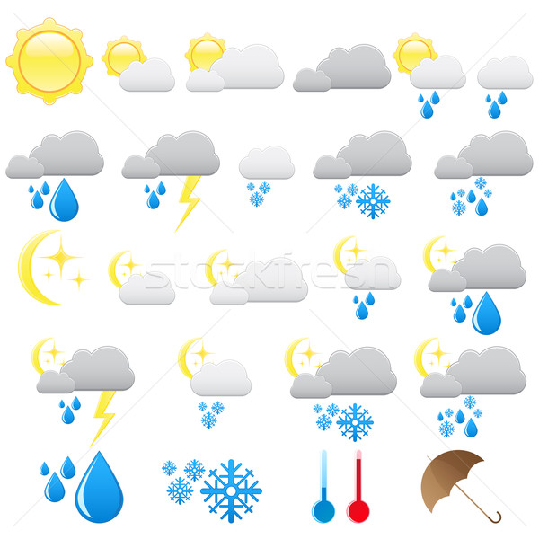 Weather icons Stock photo © gladcov