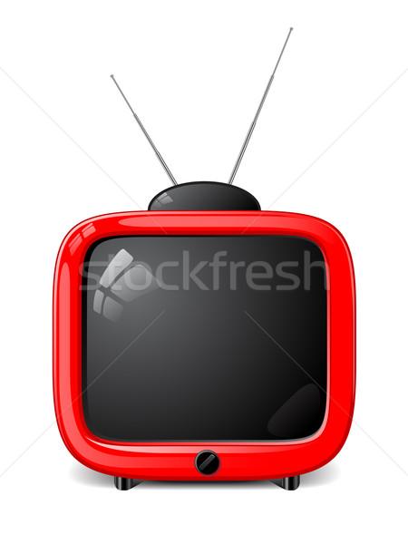 Elegante vector tv rojo retro blanco Foto stock © gladcov