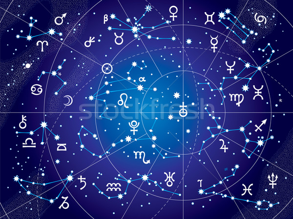 XII Constellations of Zodiac (Ultraviolet Blueprint version) Stock photo © Glasaigh