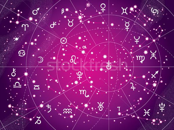 XII Constellations of Zodiac (Antique Purple version) Stock photo © Glasaigh