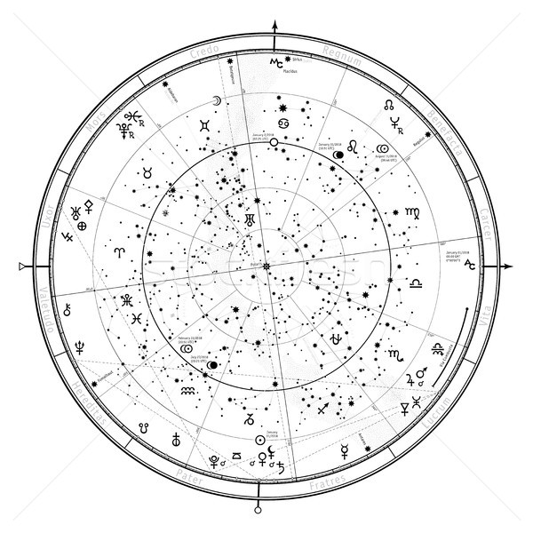 Astrologique horoscope carte nord détaillée Photo stock © Glasaigh