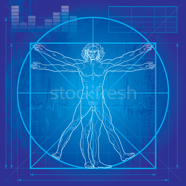 The Vitruvian man (Blueprint version) Stock photo © Glasaigh