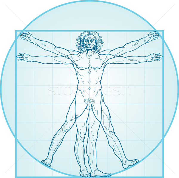 The Vitruvian man (Aqua-Air version) Stock photo © Glasaigh