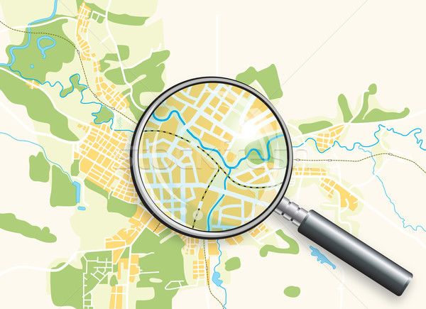Map of the City and a Loupe Stock photo © Glasaigh
