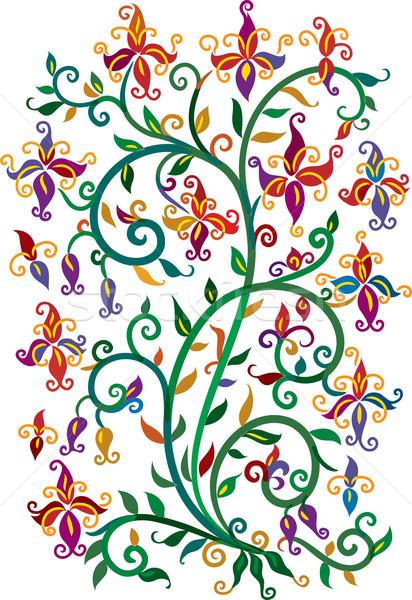 Refinado floral cor verão redemoinho decorativo Foto stock © Glasaigh