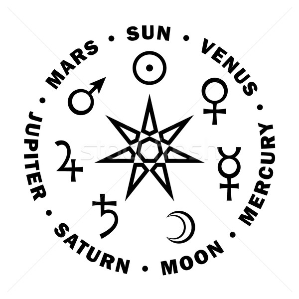 The Septener. Star of The Magicians. Seven planets of Astrology. Stock photo © Glasaigh