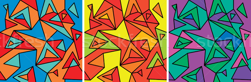 Kubisme abstractie ingesteld textuur kunst Stockfoto © Glasaigh