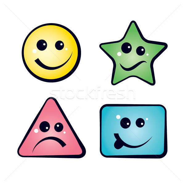 Color Smiley Faces emoji icons Stock photo © Glasaigh