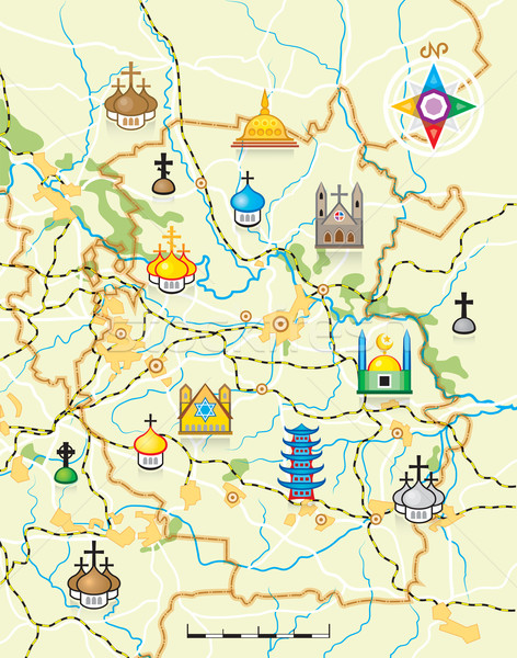 Vetor mapa país religioso fundo campo Foto stock © Glasaigh