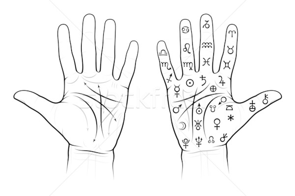Chiromancy Chart of the Palms (with signs) Stock photo © Glasaigh