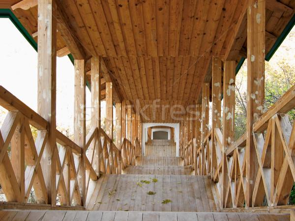 Coperto legno passaggio chiesa costruzione architettura Foto d'archivio © Glasaigh
