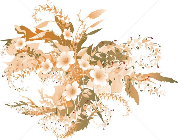 Floral couleur lumineuses décoratif feuille fond Photo stock © Glasaigh