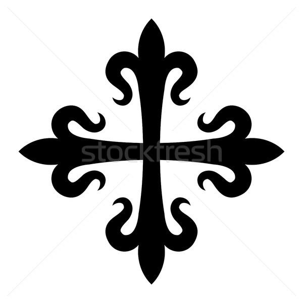 Kereszt liliomok középkori felirat liliom történelem Stock fotó © Glasaigh