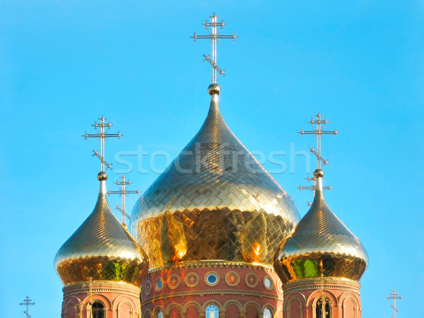 Shining golden onion domes of St.Vladimir Cathedral Stock photo © Glasaigh