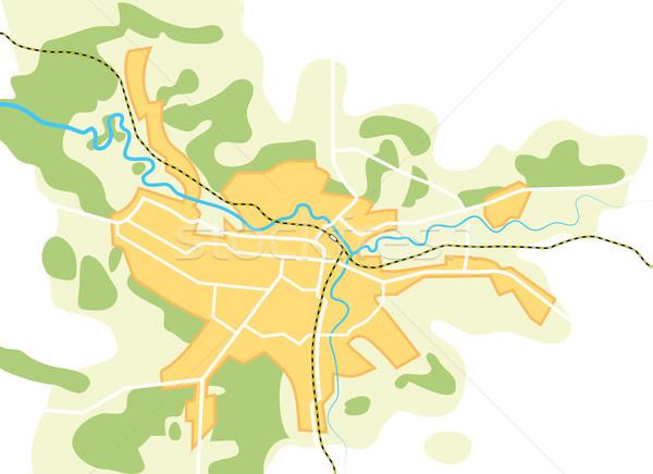 Egyszerűsített vektor térkép város dekoratív eps8 Stock fotó © Glasaigh