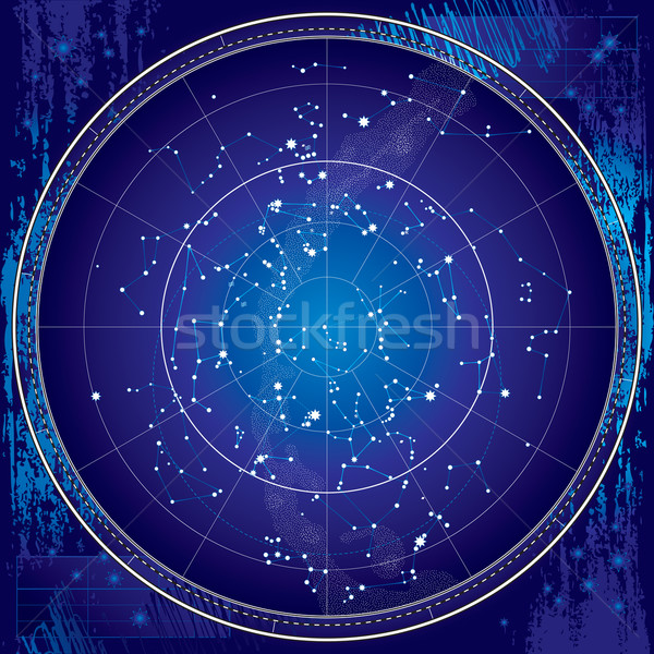 Celestial Map of The Night Sky (Blueprint) Stock photo © Glasaigh