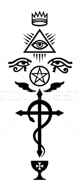 Serpent croix mystique signes occulte symboles Photo stock © Glasaigh