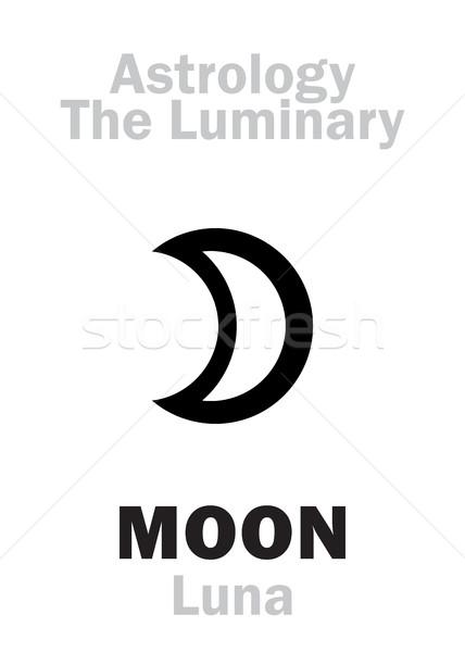 Asztrológia hold ábécé hieroglifa karakter felirat Stock fotó © Glasaigh
