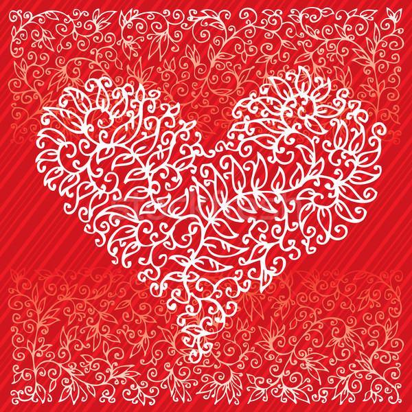 St. Valentine Love Red Heart Card IV Stock photo © Glasaigh