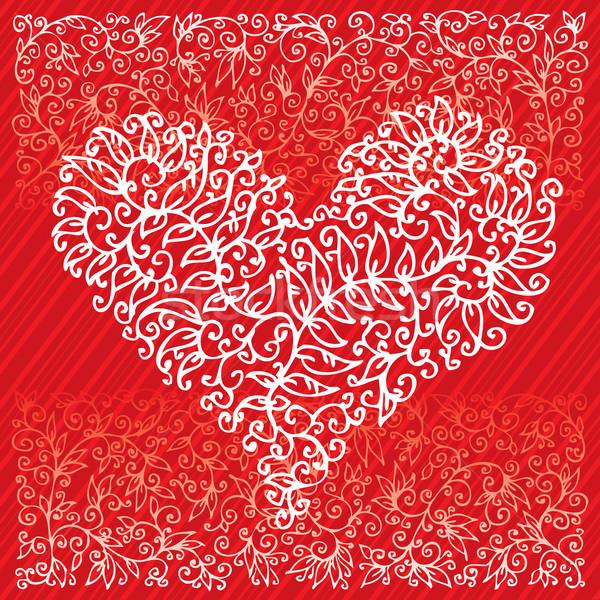 バレンタイン 愛 赤 中心 カード 幸せ ストックフォト © Glasaigh