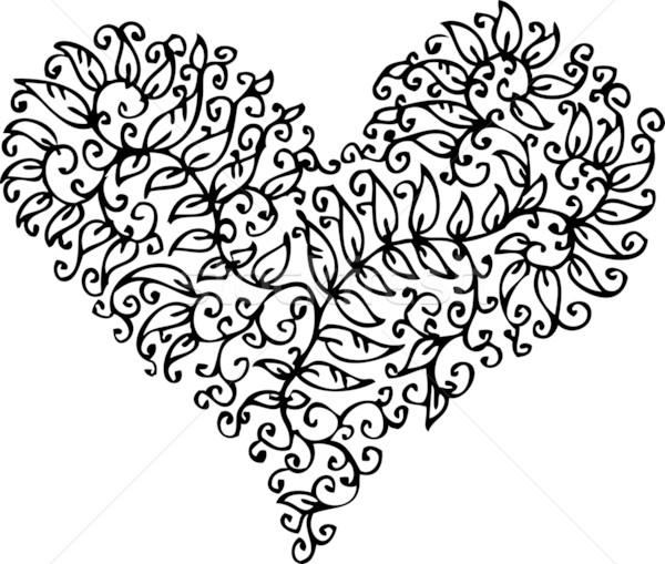 Foto stock: Romântico · coração · floral · refinado · redemoinho · decorativo