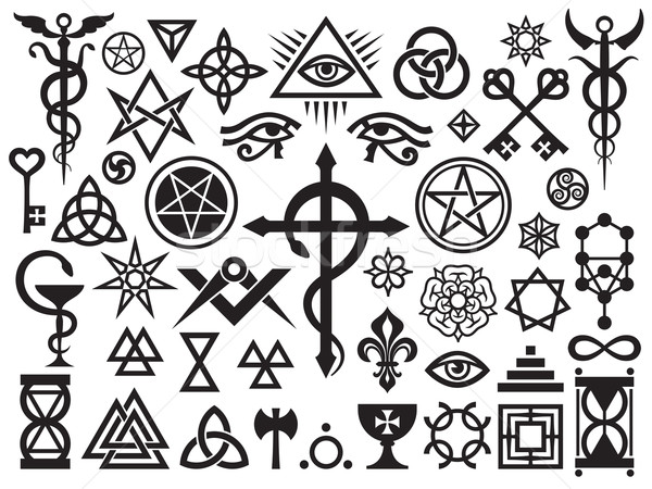 Medieval Occult Signs And Magic Stamps Stock photo © Glasaigh