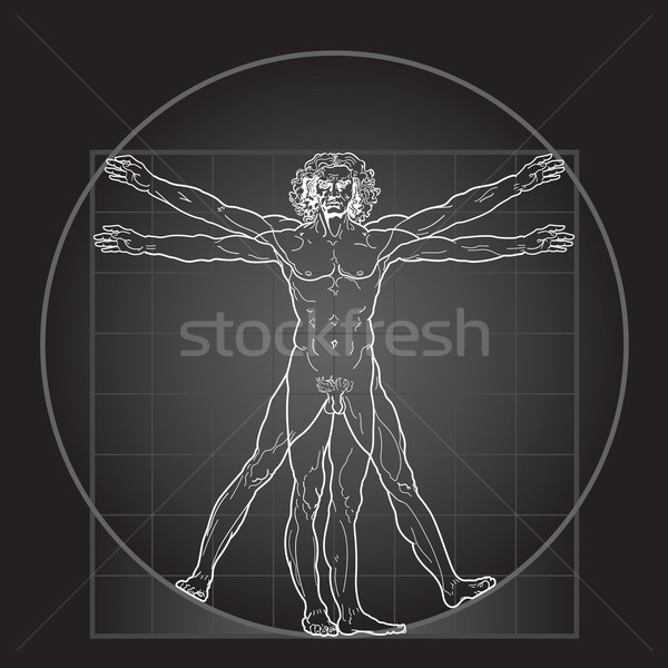 Photo stock: Homme · noir · version · détaillée · dessin · base