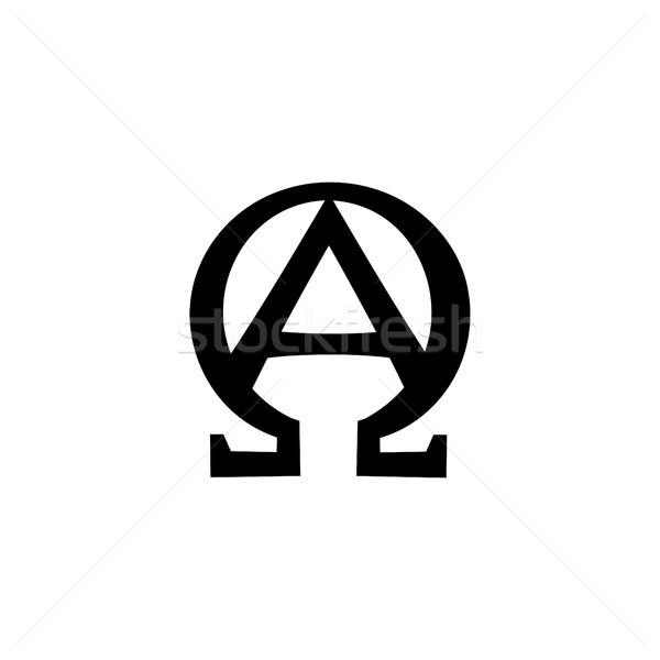 Monogram of the Biblical phrase: I am Alpha and Omega Stock photo © Glasaigh