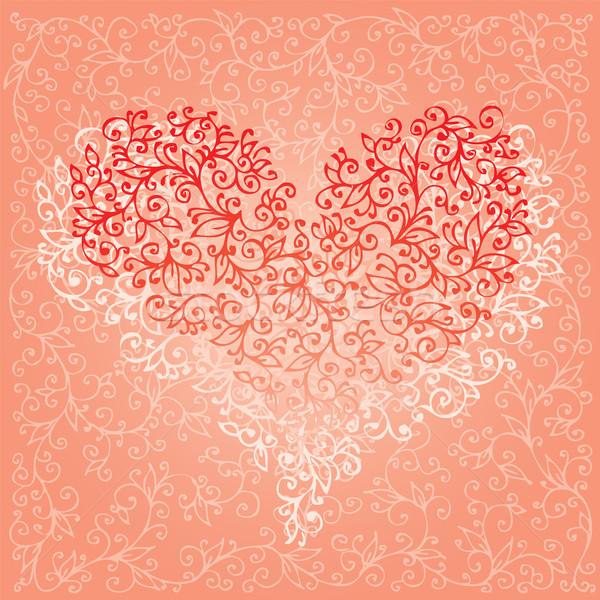 Valentin nap szeretet piros szív kártya boldog Stock fotó © Glasaigh