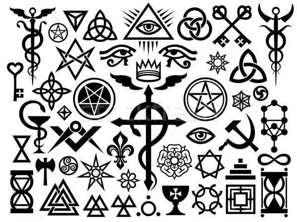 Mittelalterlichen okkulten Zeichen Magie Briefmarken Herkunft Stock foto © Glasaigh