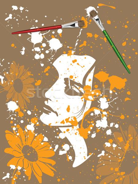 キャンバス 乱雑な グランジ 絵画 女性 花 ストックフォト © gleighly