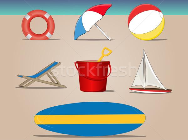 ビーチ 日 コレクション アイコン グラフィック シンボル ストックフォト © gleighly