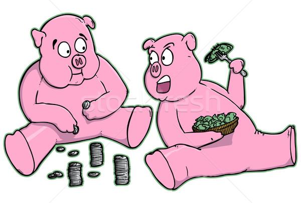 漫画 銀行 豚 食べ お金 ストックフォト © gleighly