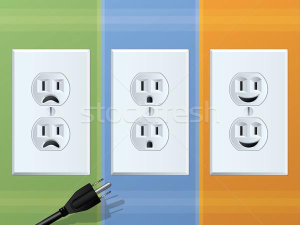 電源 幸せ 悲しい 笑顔 技術 ケーブル ストックフォト © gleighly