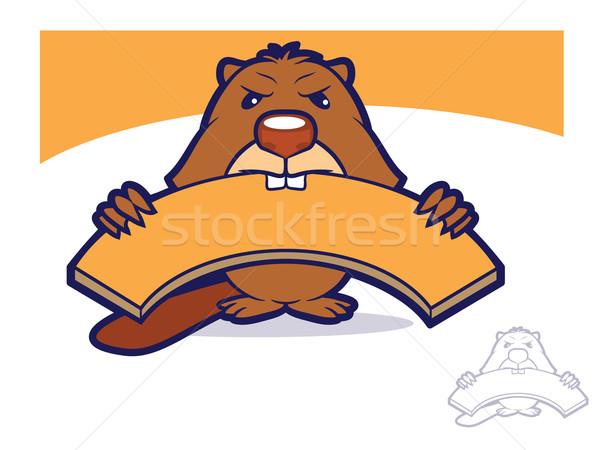 ビーバー マスコット 文字 漫画 かむ 木板 ストックフォト © gleighly