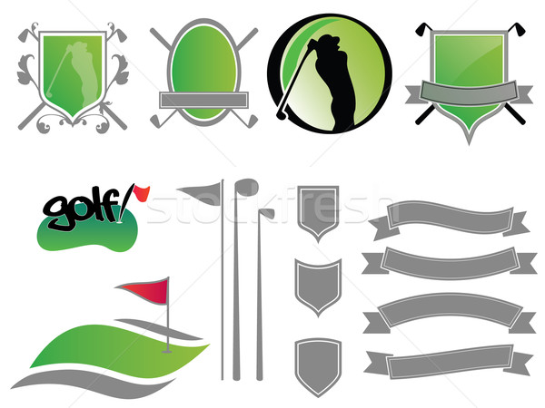 Stockfoto: Golf · logos · collectie · badges · iconen