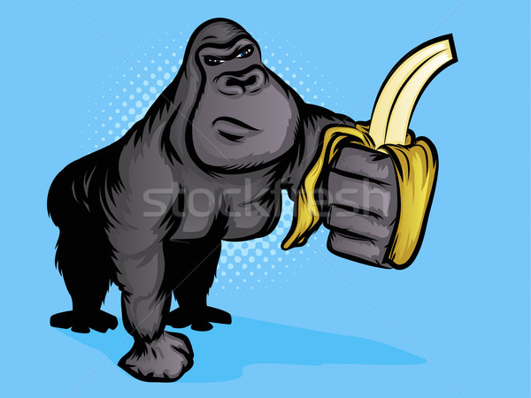 Gorilla Illustration with Halftone Background Stock photo © gleighly