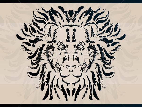 装飾的な ライオン 詳しい フローラル 抽象的な ストックフォト © gleighly