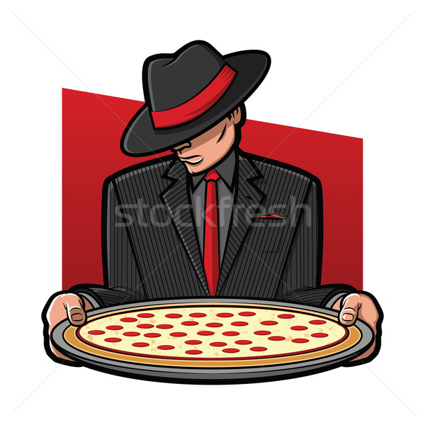 Mobster Holding Pizza Stock photo © gleighly