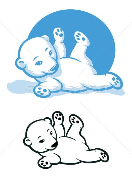 Ijsbeer welp cartoon beer natuur sneeuw Stockfoto © gleighly