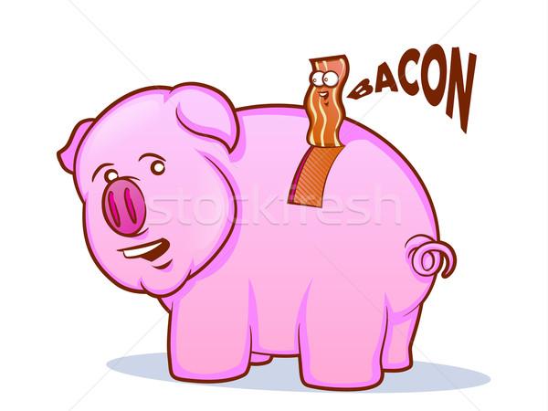 ベーコン 豚 漫画 話し 背景 面白い ストックフォト © gleighly