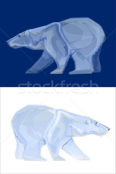 Urso polar mascote polígono ilustrações abstrato natureza Foto stock © gleighly