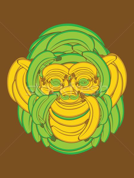 バナナ 猿 顔 アップ バナナ 食品 ストックフォト © gleighly