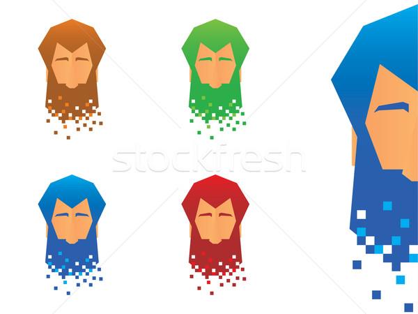 ピクセル あごひげ アイコン あごひげを生やした 顔 文字 ストックフォト © gleighly