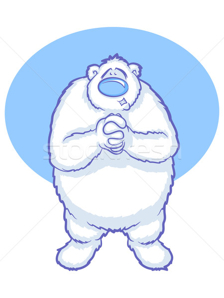Kutup ayısı karikatür beyaz ayı eller bakıyor Stok fotoğraf © gleighly