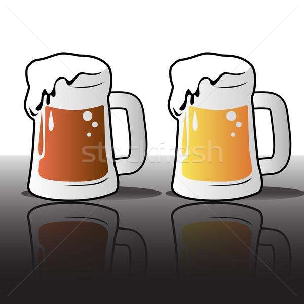 ビール マグ アイコン ガラス オレンジ にログイン ストックフォト © gleighly