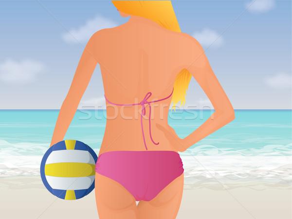 ビーチ バレーボール 尻 美少女 立って 熱帯ビーチ ストックフォト © gleighly