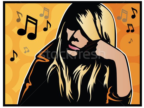 音楽 少女 ポップアート 音楽を聴く デザイン キー ストックフォト © gleighly